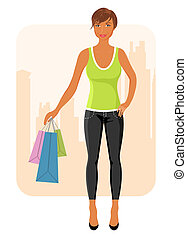 girl with purchases goes around city - Illustration girl...