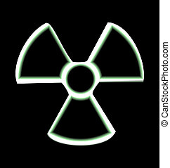 Illustration the warning symbol of radioactive hazard...
