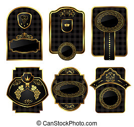 set black-gold decorative frames