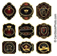 Illustration set golden decorative frames - vector