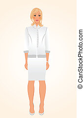 girl in white business suit isolated