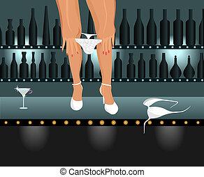 sexy girl taking down bikini in bar