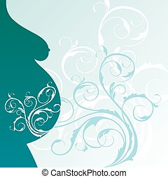 background with pregnant woman profile - Illustration...
