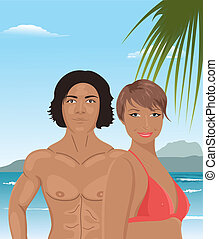 sexy girl and man on beach