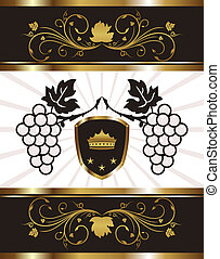 golden background with grapevine - Illustration golden...