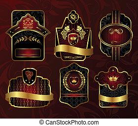 set black gold-framed labels