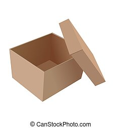 Realistic illustration isolated open box of white background...