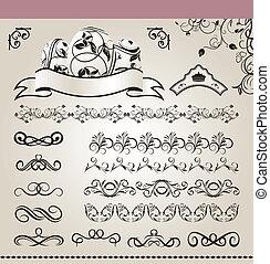 set floral ornate design elements (5)