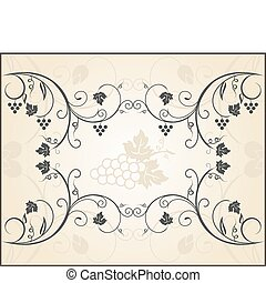 retro engraving of grapevine - Illustration retro floral...