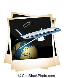 Illustration a conceptual composition - of the plane taking off from planet space on photoframe background - vector