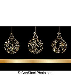 set Christmas balls made from golden snowflakes