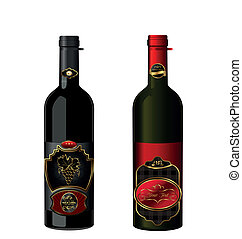 Illustration of wine bottles with attached vintage labels...