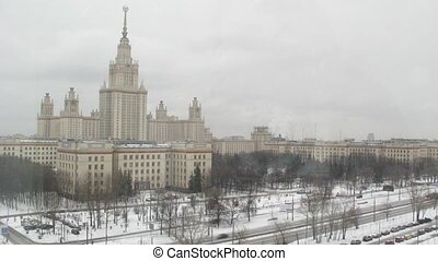 Moscow State University in winter at daytime, time lapse