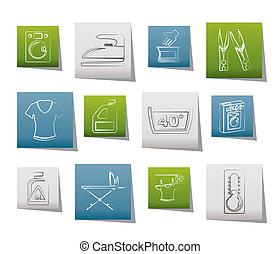 lavando, máquina, lavanderia, ícones