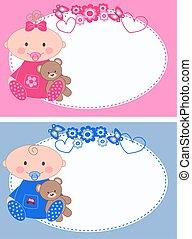 recién nacido, bebé, tarjetas