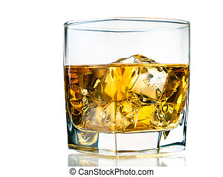 Whiskey on the rocks isolated on white