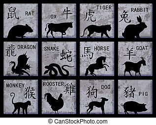 Chinese Zodiac symbols - Twelve square buttons with Chinese...