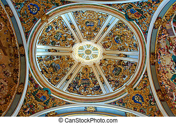 Painting Ceiling in Catholic Cathedral of Burgos, Spain