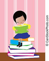 kid redding book - The little girl sitting on books of...