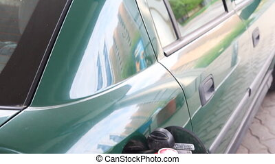 Passenger car on petrol station - passenger car in...
