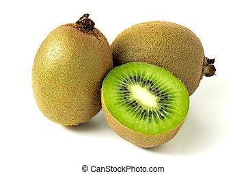 ripe kiwi fruit isolated on a white background