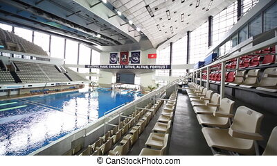 Panorama from right to left swimming pool - panorama from...