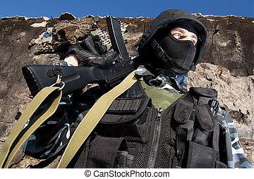 soldado, automático, rifle
