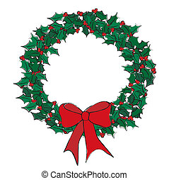 Holly wreath - A vector illustration of a holly wreath on...