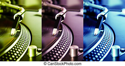 Three colored turntable record players - Tirple collage of...