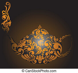 Teapot with golden ornaments - teapot with golden ornament...