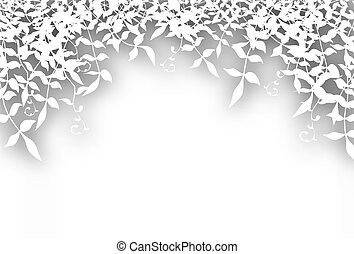 Bushy cutout - Editable vector illustration of bushy white...