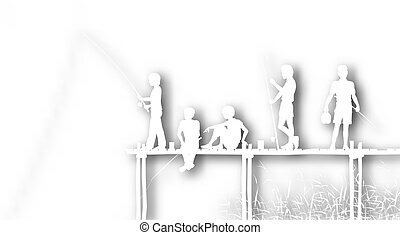 Cutout fishing kids - Editable vector cutout of children...