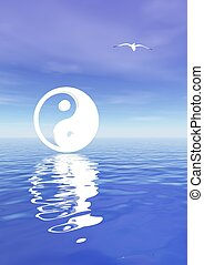 Yin and yang on blue ocean - White yin and yang symbol and a...