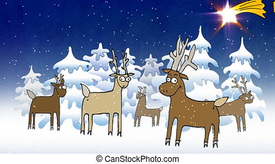 Merry Christmas - Winter forest, night, reindeers standing...