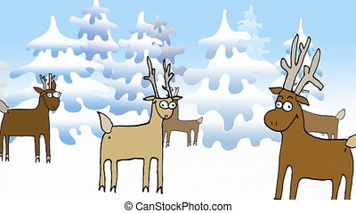 Merry Christmas by Reindeers - Reindeers standing in a group...