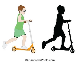 scooter kid  - boy riding microscooter - vector illustration