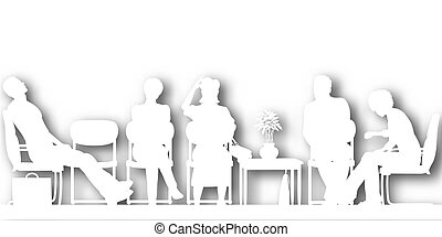 Waiting room cutout - Editable vector cutout silhouettes of...