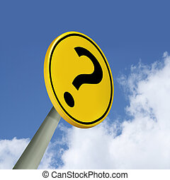Question mark road sign over blue sky