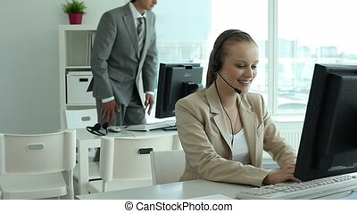 Call center employers - Three call center employers at work...