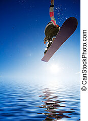 Airborn snowboarder - Crossover snowboard, surfing photo...