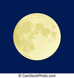 Full Moon - Illustration of a full moon on a dark blue sky