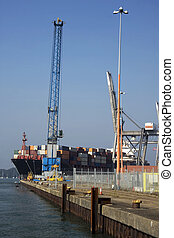 Container ship emerging