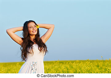 smiling girl at summer outdoors