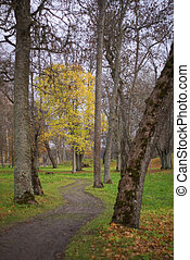 Meandering footpath - Footpath meandering through a park in...