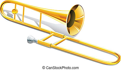 trombone musical instrument vector illustration isolated on...