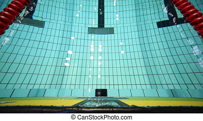Swimming pool with water and roads, top view - deep sports...