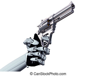 Cybercrime - Illustration of a robot pointing a deadly...
