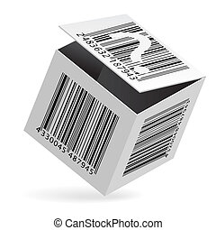 Bar code on box - Illustration of bar code on open white box