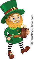 Funny Leprechaun going with Ale