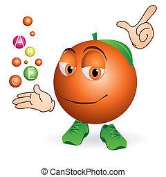 sonriente, naranja